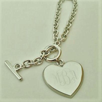 Heart Toggle Bracelet Engraved Monogram Bracelets