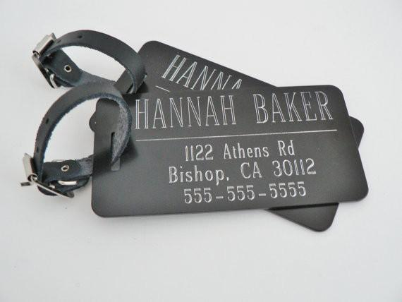 Custom Metal Luggage Tags - Set of Two - Black, Red, Blue or Silver