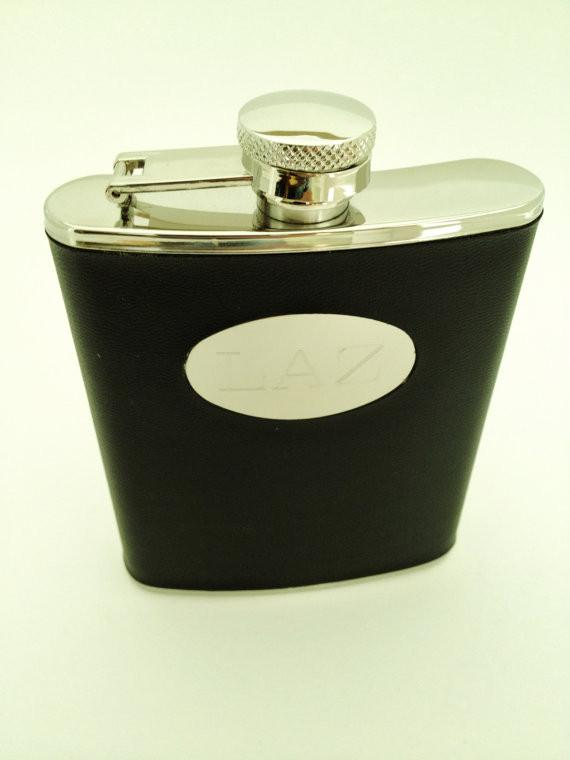 Monogram Wrapped Black Flask