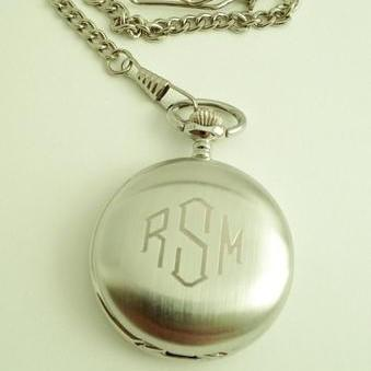 Mens Pocket Watch Engraved for Groomsmen Gift or Groom Gift