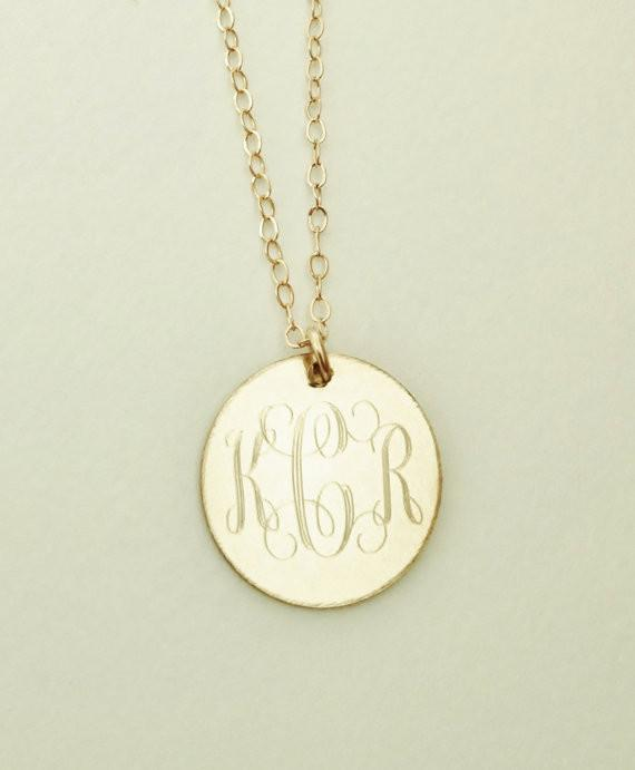 Monogram Necklace Gold Filled