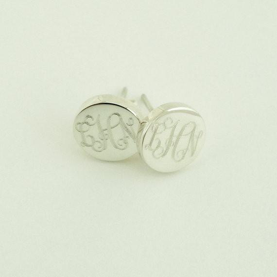 Monogram Stud Earrings in Sterling Silver