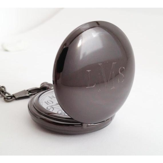 Copy of Pocket Watch Gunmetal Finish Personalized