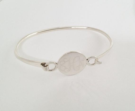 Monogram Sterling Silver Latch Bangle Bracelet