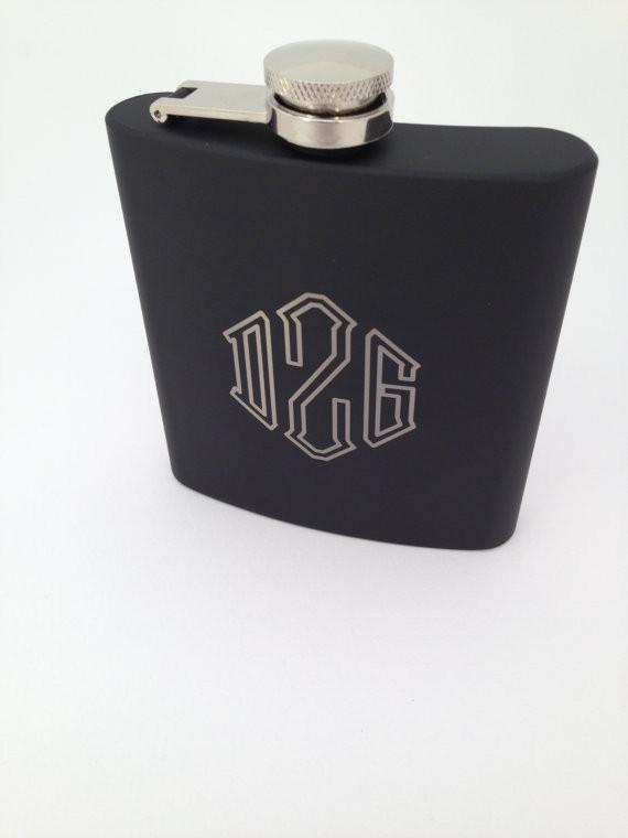 Black Monogram Flask