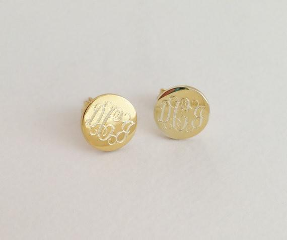 Custom Engraved Earrings Gold Plated Monogram Stud Earrings