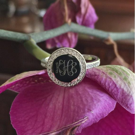 Cubic Zirconia Monogram Ring