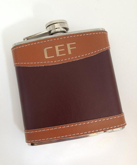 Engraved Leather Flask with Funnel