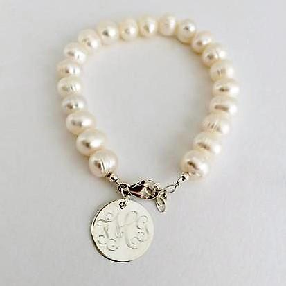 Freshwater Pearl Bracelet with Monogram Sterling Silver
