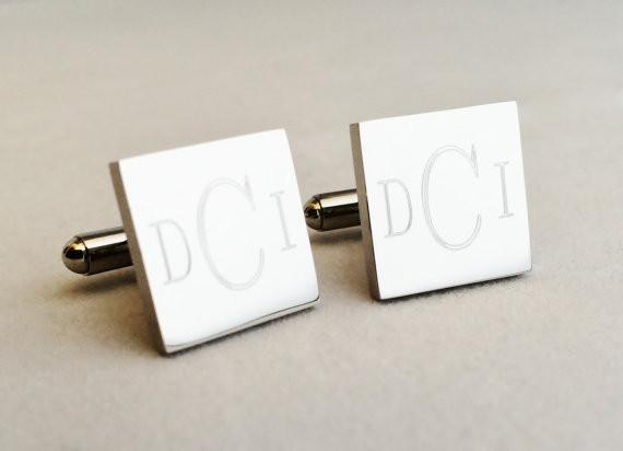 Monogram Cufflinks in Stainless Steel Round or Square