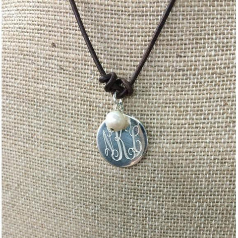 Leather and Pearl Monogram Necklace in Sterling Silver