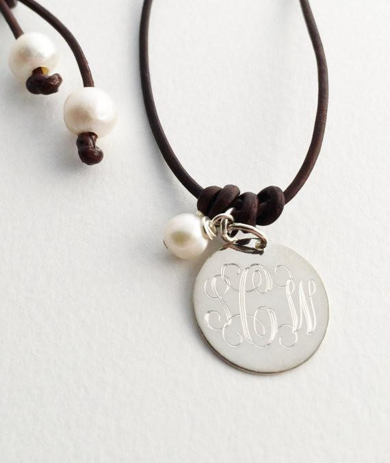 leather and pearl monogram necklace