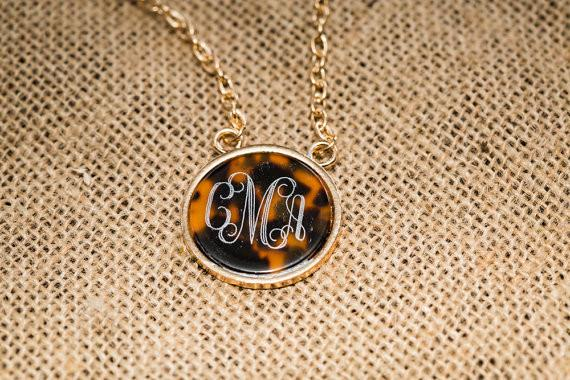 Monogrammed Tortoise Necklace