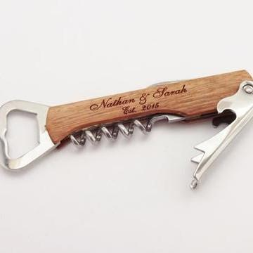 Personalized Cork Screw Bottle Opener
