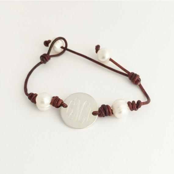 leather and pearl monogram bracelets