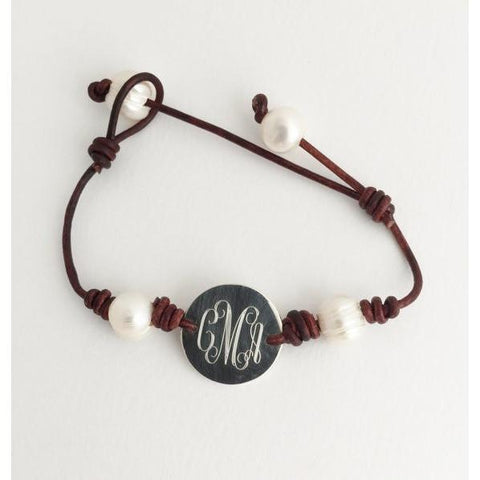 Pearl and Leather Monogram Bracelet in Sterling Silver