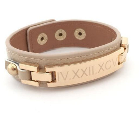 Bar Bracelet in Leather Personalized