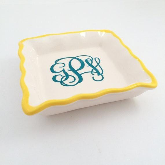 Monogram Ring Dish Colorful