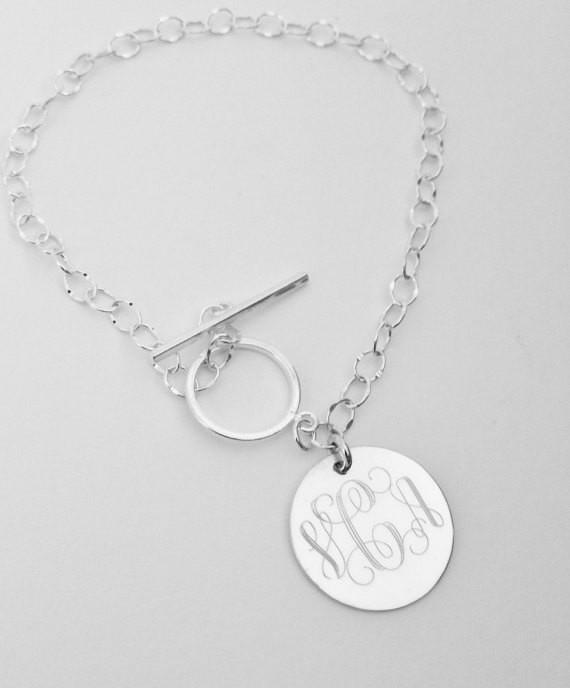 Monogram Toggle Bracelet in Sterling Silver