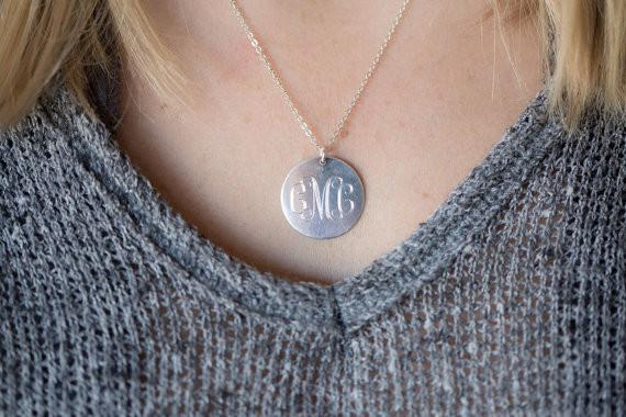 "Sterling Silver Monogrammed Necklace with 1"" Disc"