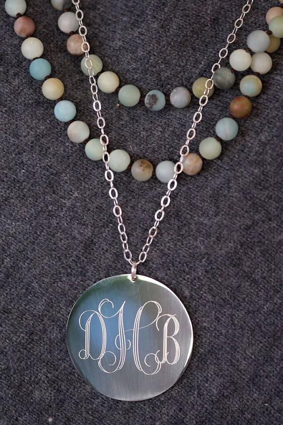 Oversized Long Silver Monogram Necklace The Personal