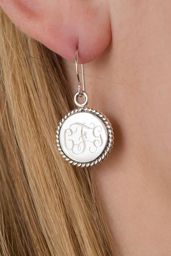 Nautical Rope Monogram Earrings in Sterling Silver