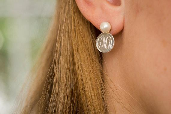 Pearl Monogram Earrings in Sterling Silver