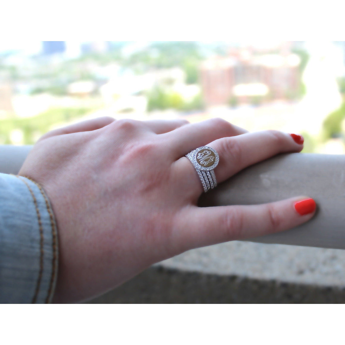 Monogram Stacking Rings with Cubic Zirconia in Sterling Silver