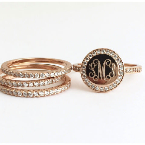 Rose Gold Monogram Stacking Rings with Cubic Zirconia