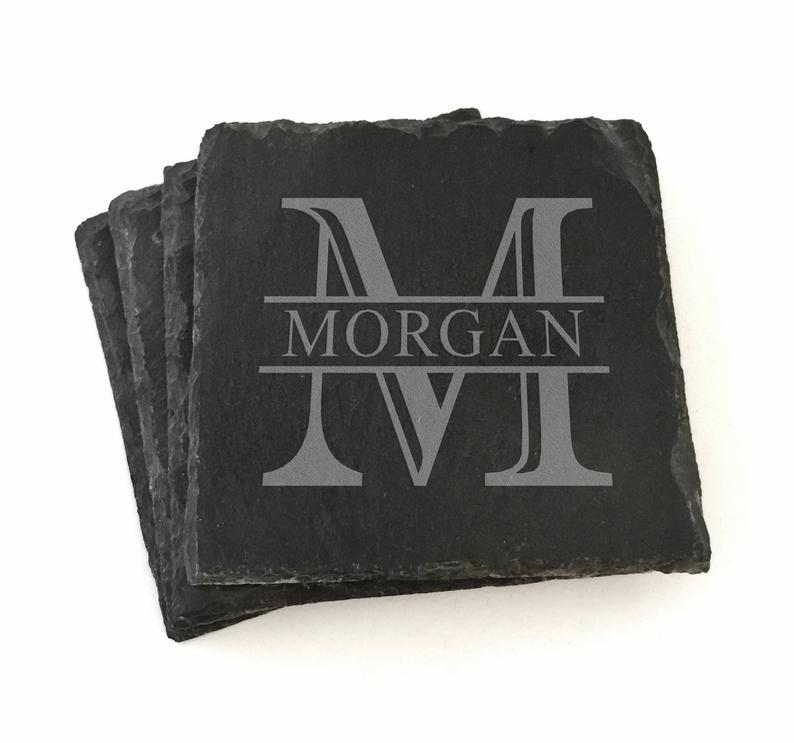 Monogrammed Slate Coaster Set of 4 Custom Coasters