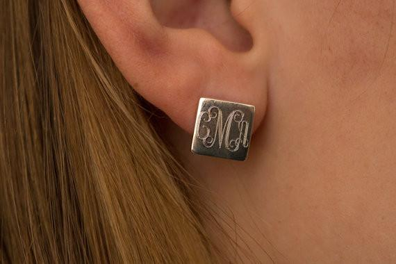 Square Monogram Stud Earrings in Sterling Silver