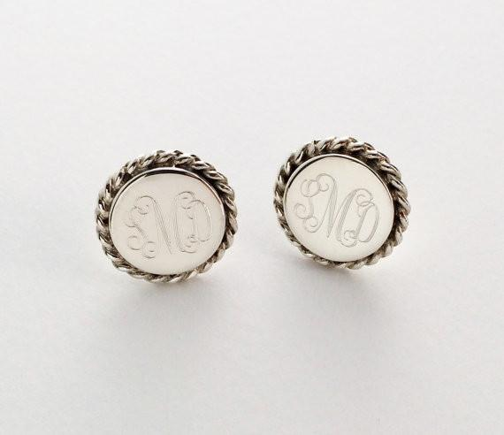 Nautical Rope Monogram Stud Earrings in Sterling Silver