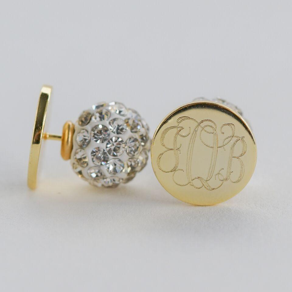 CZ Back Monogram Earrings in Silver, Gold or Rose Gold