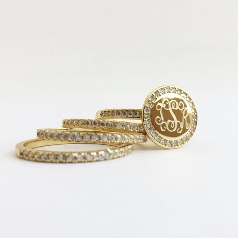 Monogram Stacking Rings in Gold with Cubic Zirconia