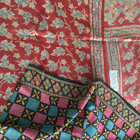 Pinky/Red floral with a graphic geometric reverse kantha quilt