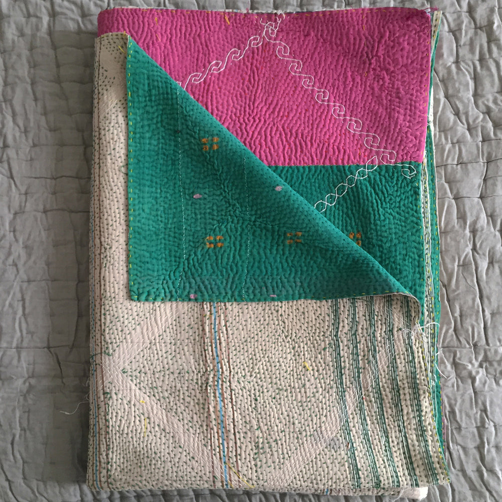 Off white / blue check with green / pink colour block reverse kantha quilt