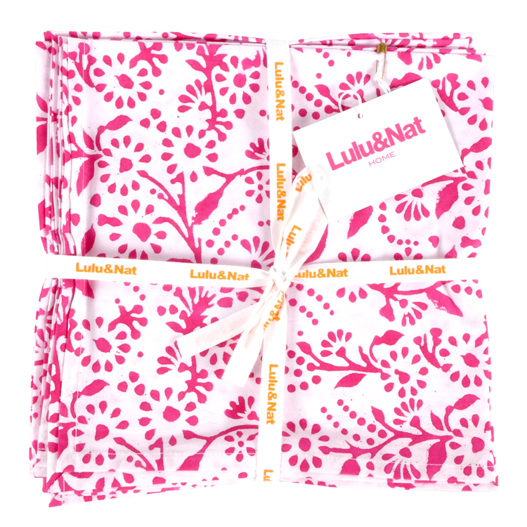 Pink floral napkins - set of 6