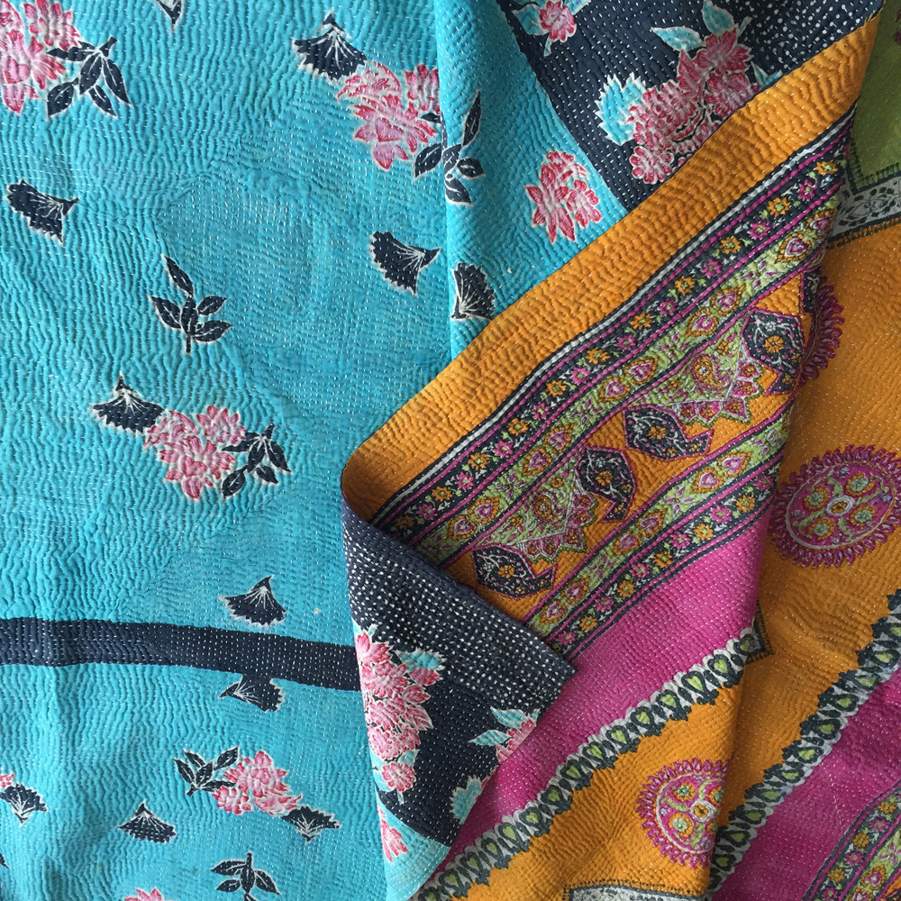 Turquoise floral & orange/pink paisley kantha quilt