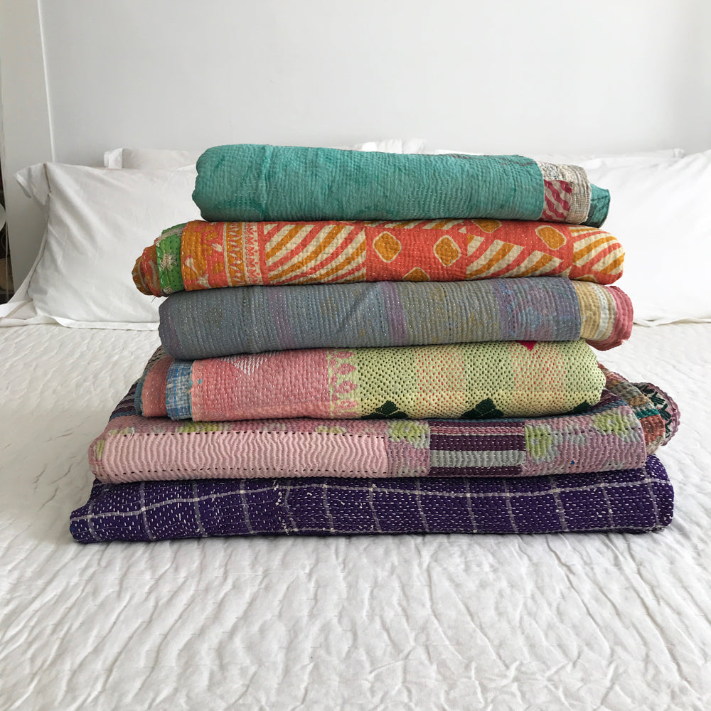 Muted lilac & green kantha quilt