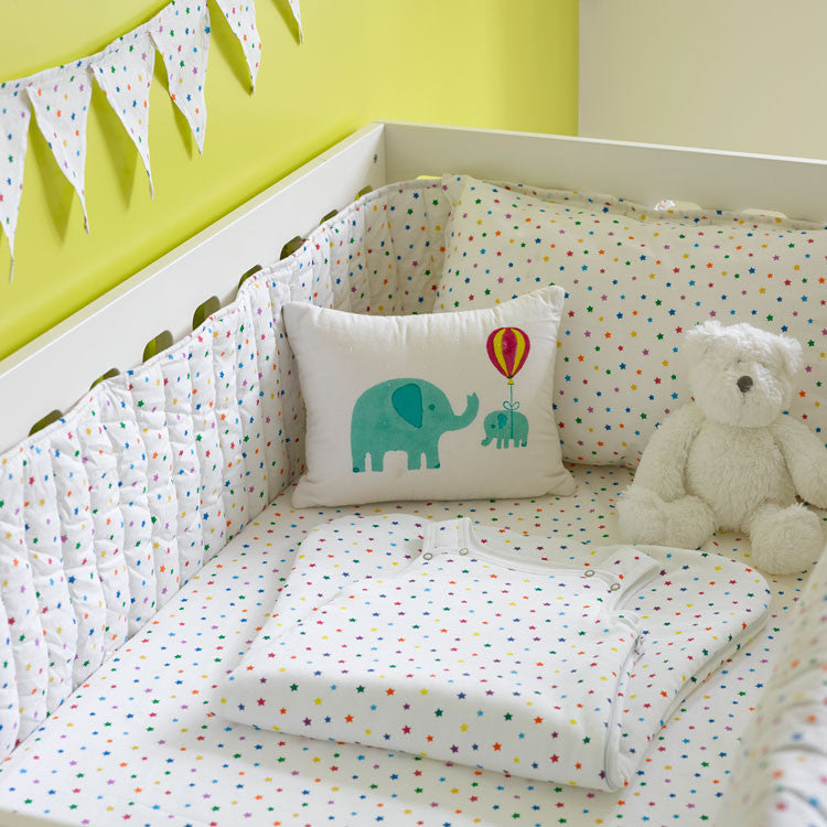 Multicolour star cot bed bumper
