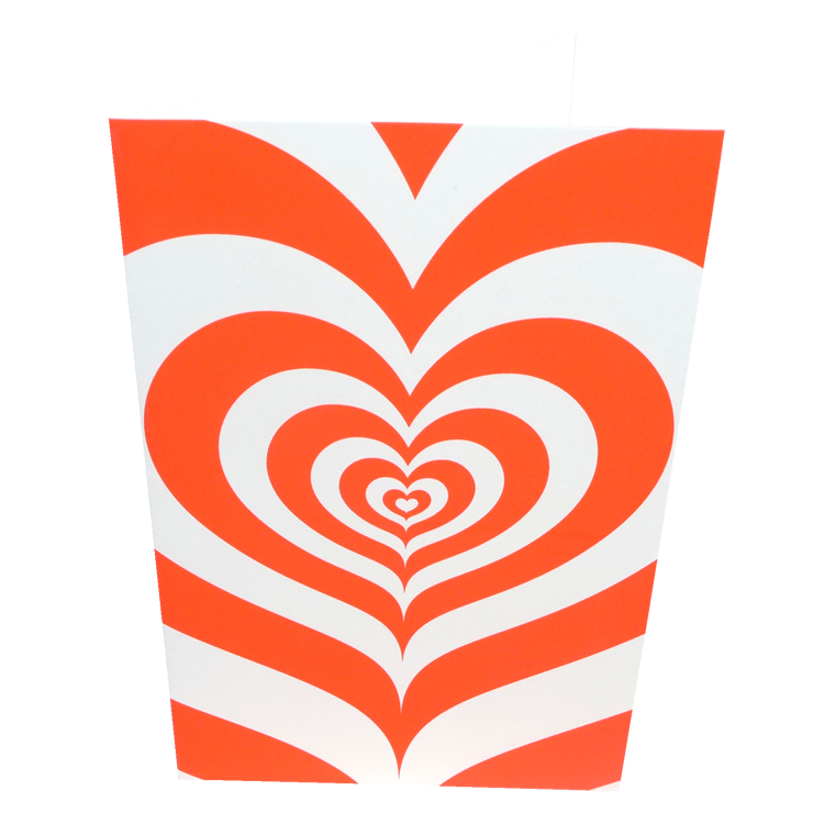 Orange hypnotic heart card