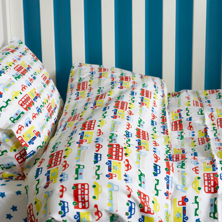 Car And Buses Toddler Cot Bed Duvet Set And Boys Cot Bedding Lulu And Nat