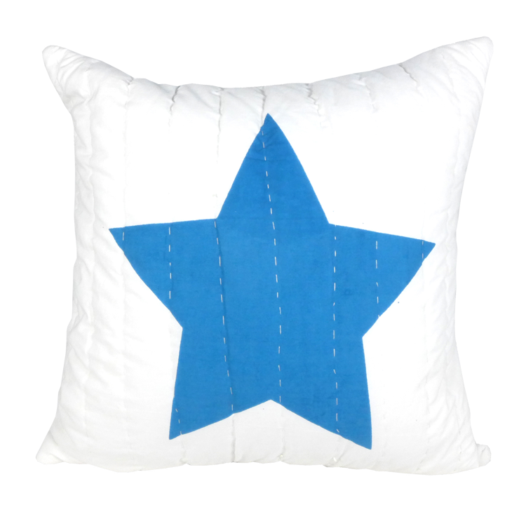 Blue & red star printed cushion