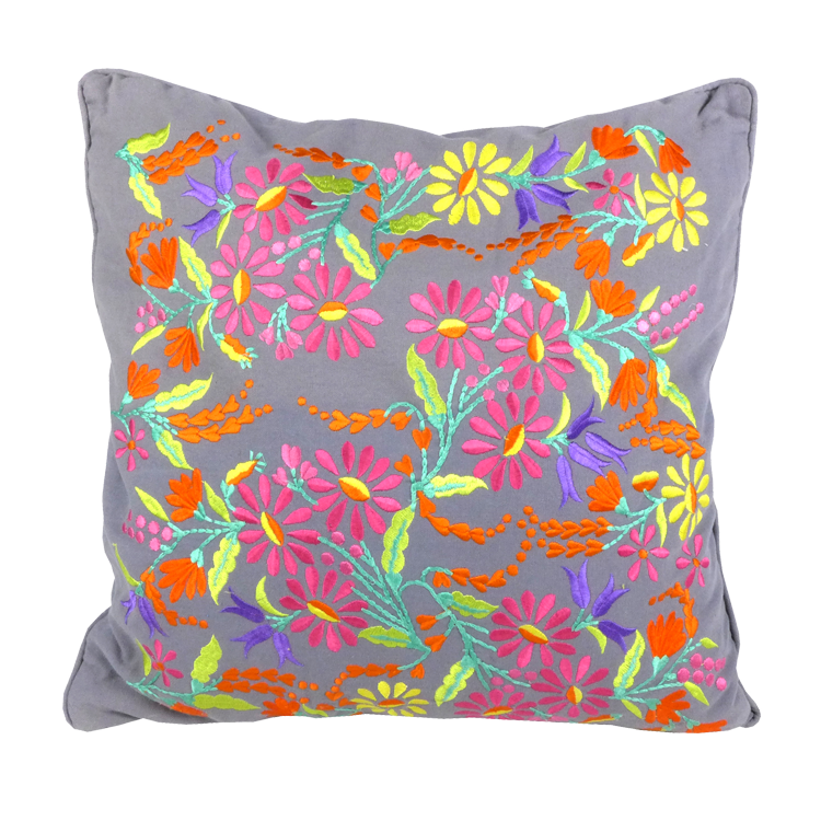 Charcoal Floral embroidered cushion