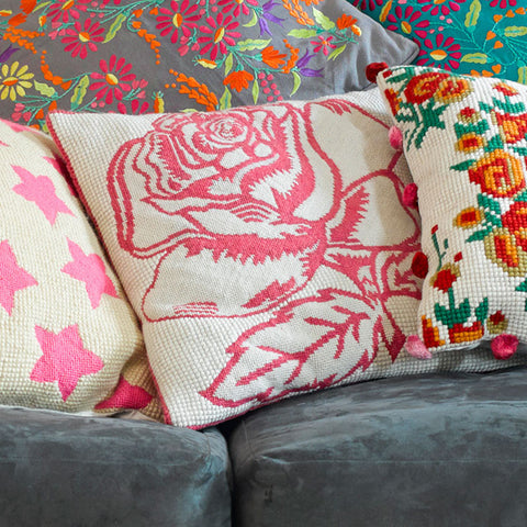Pink rose tapestry cushion