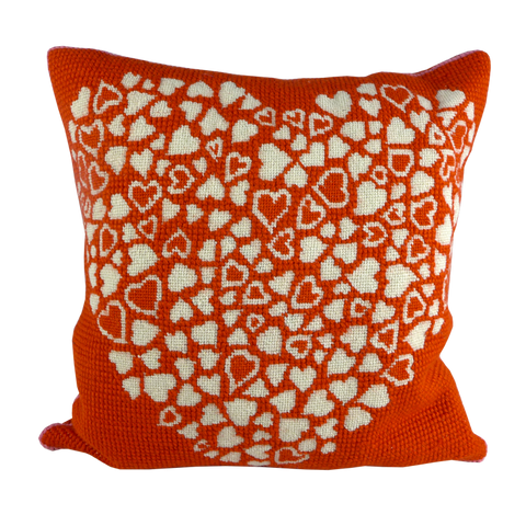 Red heart tapestry cushion