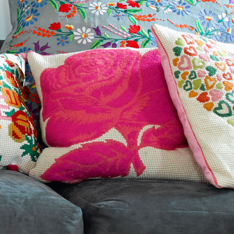 Two tone pink rose tapestry cushion