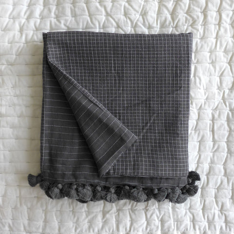Charcoal woven cotton shawl