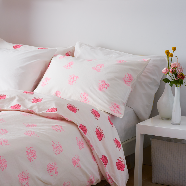 Rose duvet cover and 2 pillowcases set