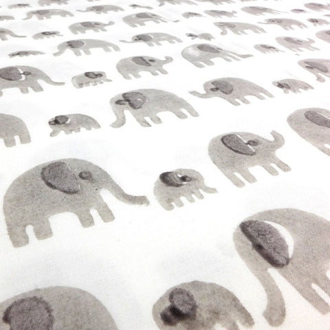 Grey elephant cotton fabric